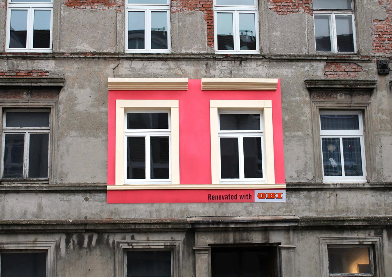 Renovated Billboards - Pink House, 2013, Hamburg, Werbung für OBI, ausgezeichnet als Gold Lion Campaign, 2014