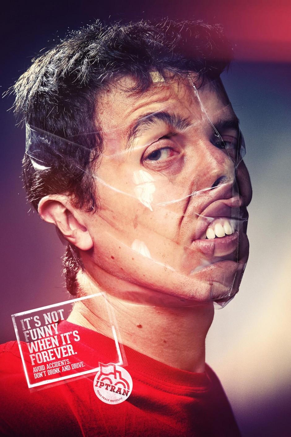 Sellotape Selfie 1, 2013, Brasilien, Werbung für IPTRAN - Instituto Paz No Trânsito, Road Safety, ausgezeichnet als Bronze Lion Campaign, 2014