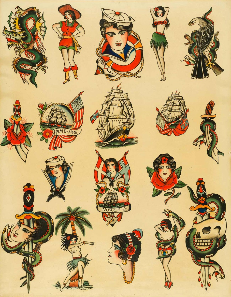 Tattoo-Vorlagenblatt von Christian Warlich, Hamburg, um 1930