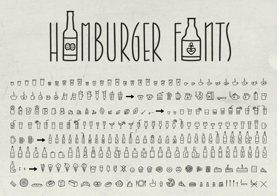 Ein besonders umfangreiches Extra der Jabana sind die Coffee Bar Icons. Dieser Font beinhaltet ca. 250 unterschiedliche Kaffee, Tee, Bier oder Snack Symbole in unterschiedlichsten Varianten.