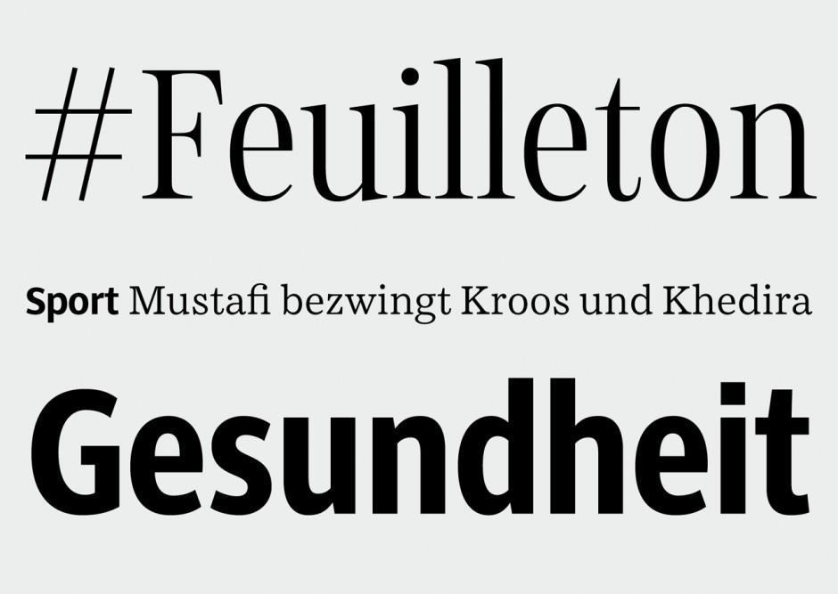 Schriftmuster der SZ Serif, SZ Sans, SZ Text, SZ SansCond