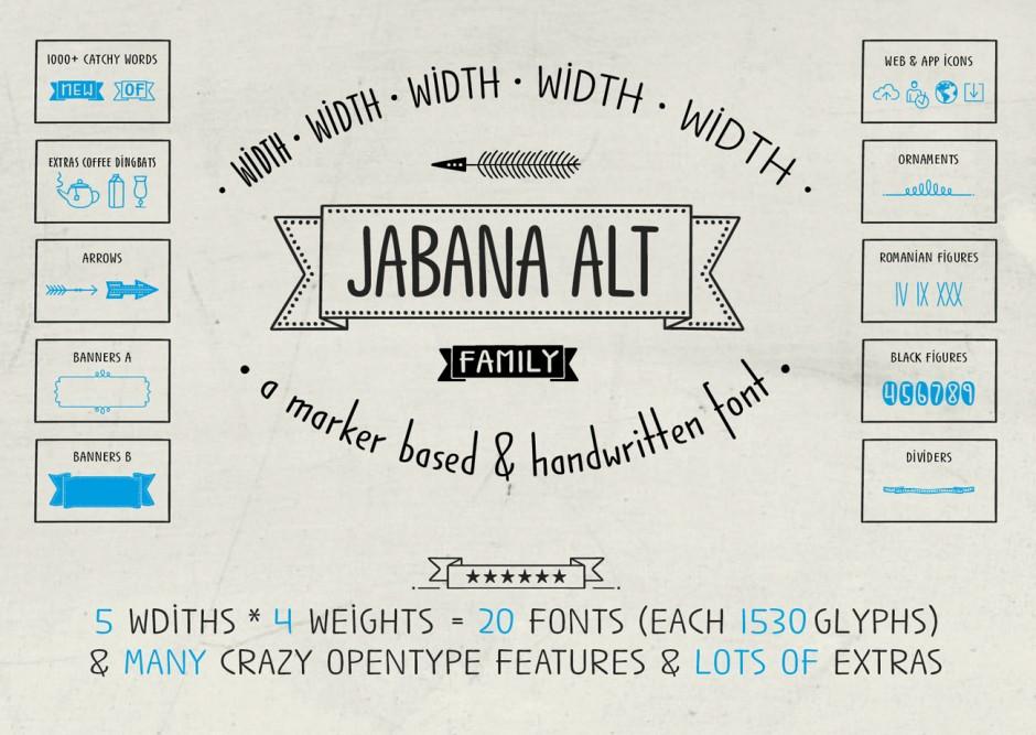 Jabana Alt ist eine etwas normalere Variante der Jabana. Hier wurden die Versalien etwas gewöhnlicher angelegt. Zudem bestizt die Jabana Alt eine größere x-Höhe in den Kleinbuchstaben. Dies macht sie vielseitiger einsetzbar und besser lesbar.