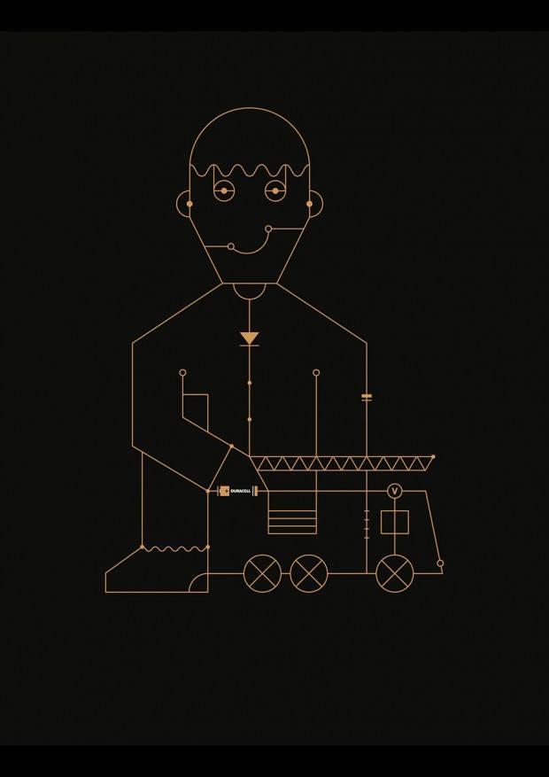 Schaltkreis-Illustration von Markus Werner für eine Duracell-Kampagne von Grey Düsseldorf