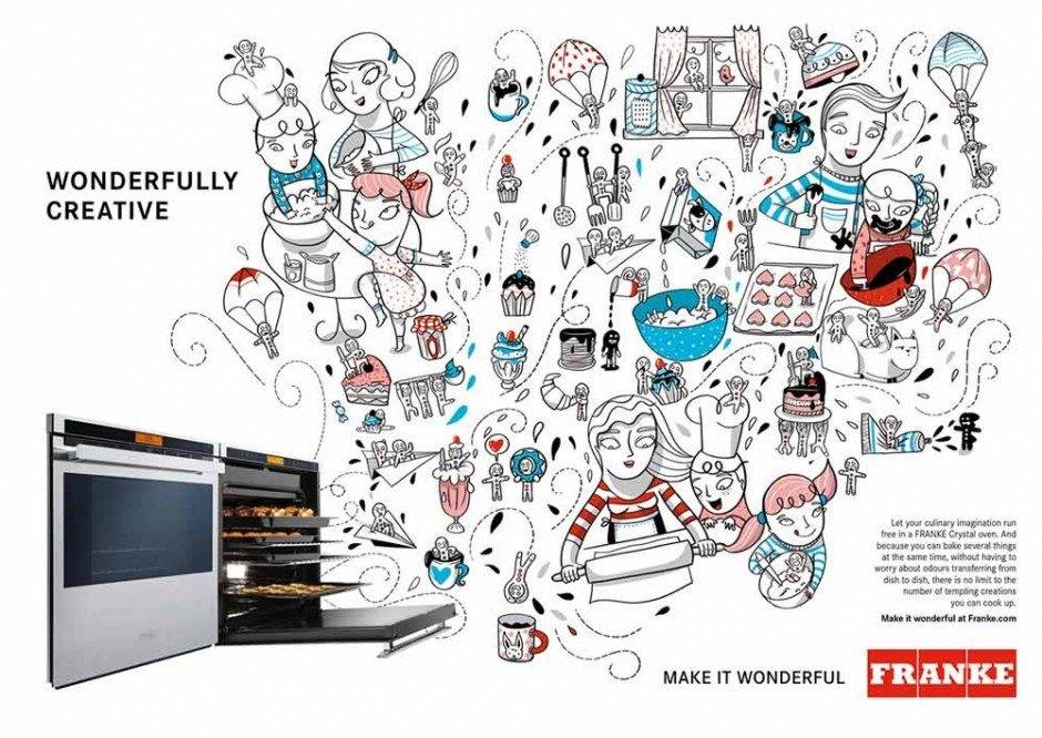 Immer öfter arbeiten Marken gleich mit mehreren Illustratoren zusammen, die Variationen auf ein Thema liefern. In diesem Falle war das der Schweizer Küchen- und Badezimmerprodukthersteller Franke, der Anzeigen und Titelseiten von Produktkatalogen von bekannten Zeichnern gestalten ließ – hier eine Arbeit von Amaia Arrazola Otaduy