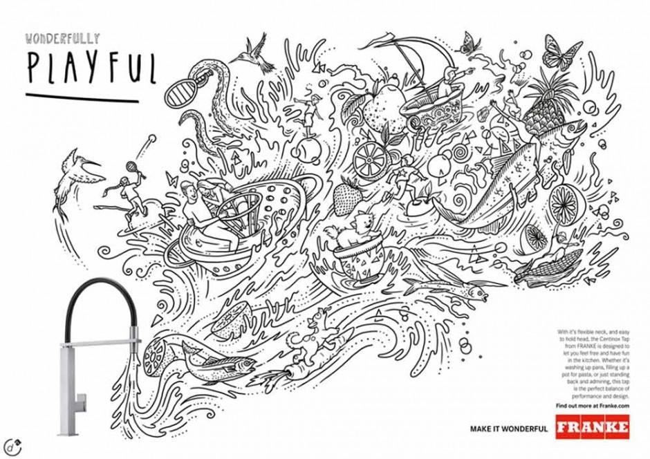 Immer öfter arbeiten Marken gleich mit mehreren Illustratoren zusammen, die Variationen auf ein Thema liefern. In diesem Falle war das der Schweizer Küchen- und Badezimmerprodukthersteller Franke, der Anzeigen und Titelseiten von Produktkatalogen von bekannten Zeichnern gestalten ließ – hier eine Arbeit von ilovedust