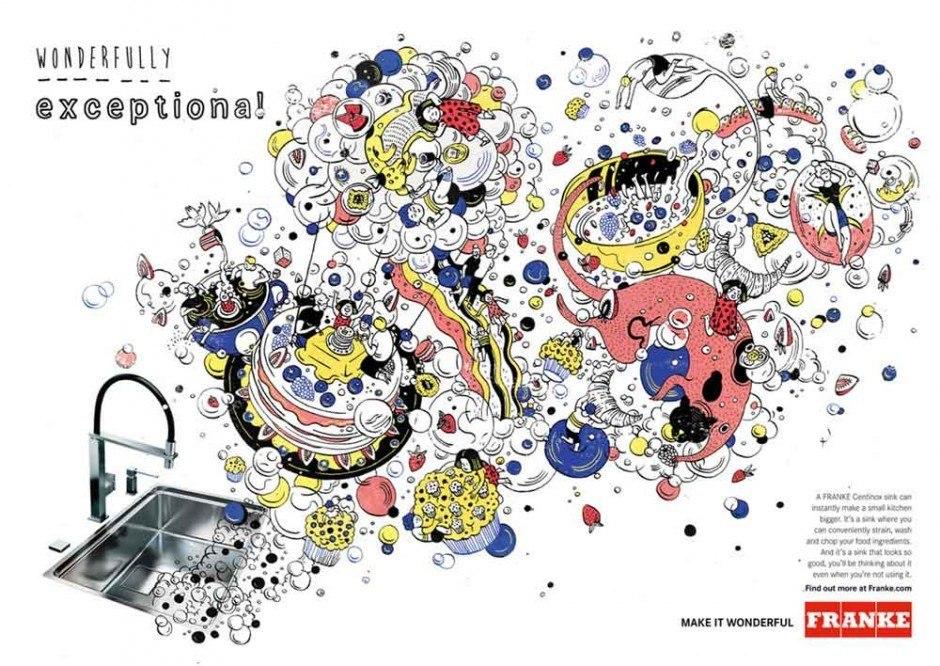 Immer öfter arbeiten Marken gleich mit mehreren Illustratoren zusammen, die Variationen auf ein Thema liefern. In diesem Falle war das der Schweizer Küchen- und Badezimmerprodukthersteller Franke, der Anzeigen und Titelseiten von Produktkatalogen von bekannten Zeichnern gestalten ließ – hier eine Arbeit von Vito Ngai