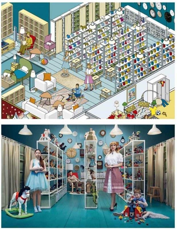 Zehn russische Familien und ihr jeweils ganz anders eingerichtetes Zuhause standen im Mittelpunkt einer Kampagne, für die Rod Hunt Illustrationen anfertigte – und die aus einem Katalog im Kinderbuchstil sowie einem Online-Game bestand
