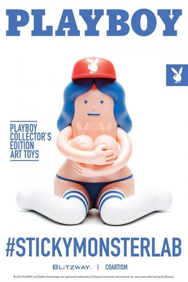 Im Stil eines Playboy-Covers: Werbung für Designer Toys von Sticky Monster Lab