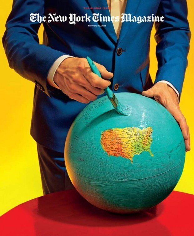 Unverkennbar von Maurizio Cattelan and Pierpaolo Ferrari (die selbst das Magazin »Toiletpaper« machen) kommt diese Cover-Version für »The Global Issue« des »New York Times Magazine«.