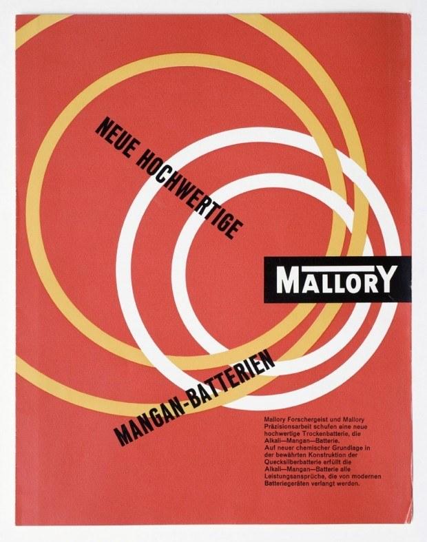 Werbeprospekt für Batterien der Firma Mallory, 1950er Jahre