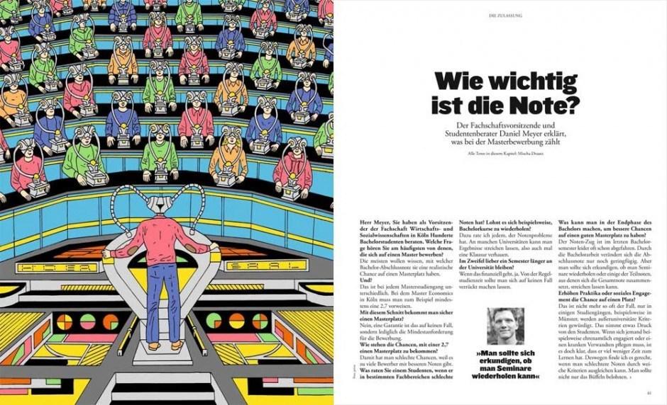 Illustration: Paul Paetzel hat für den »ZEIT CAMPUS Ratgeber« Cover und Innenseiten illustriert, http://biografiktion.blogspot.de/