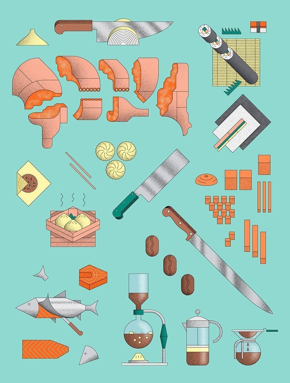 Food skills illustration für BRUMMEL magazine
