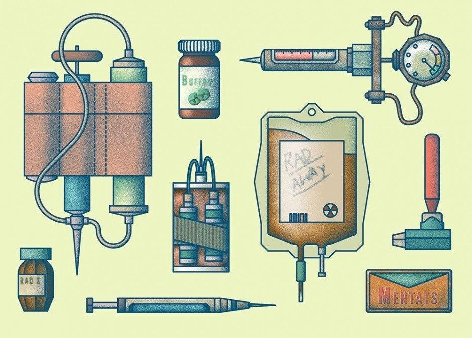 Postkarte für das Videospiel Magazin Castle. Abgebildet sind alle medizinischen Items aus Fallout 3