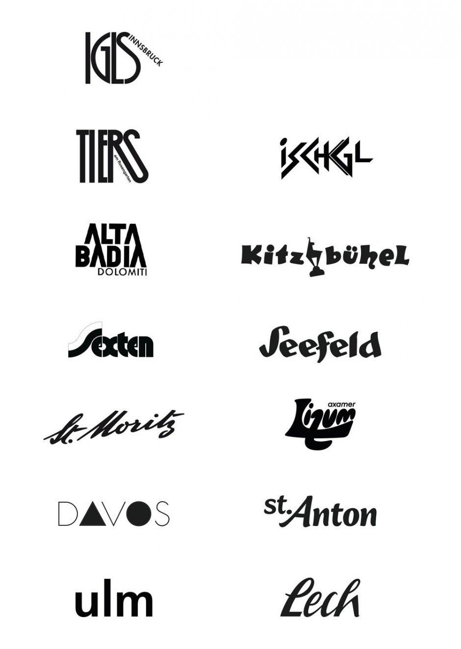 Arthur Zelger, Igls-Innsbruck, Tiers am Rosengarten (1990), Alta Badia, Dolomiti (um 1970), Sexten (um 1987), Axamer Lizum (um 1900)Walter Herdegg, St. Moritz (ca. 1930); Joseph Breuer / Hermann Ay, Ulm (1988); Loft Advertising München, Ischgl (1990); Alfons Walde, Kitzbühel (1933); Kurt Höretzeder, St. Anton (2006); Unbekannt, Davos, Seefeld, Lech