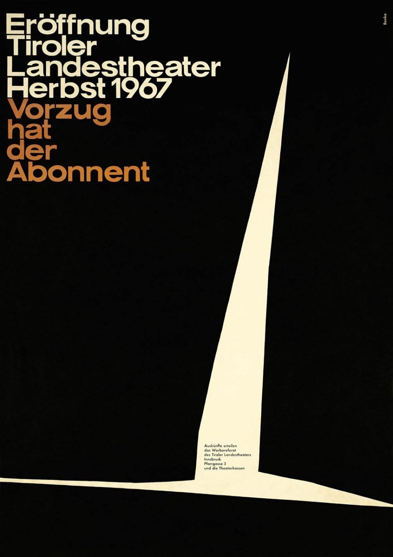 Tiroler Landestheater, Herbst 1967, Plakat, 59,8 × 84,7 cm, Nachlass Helmut Benko