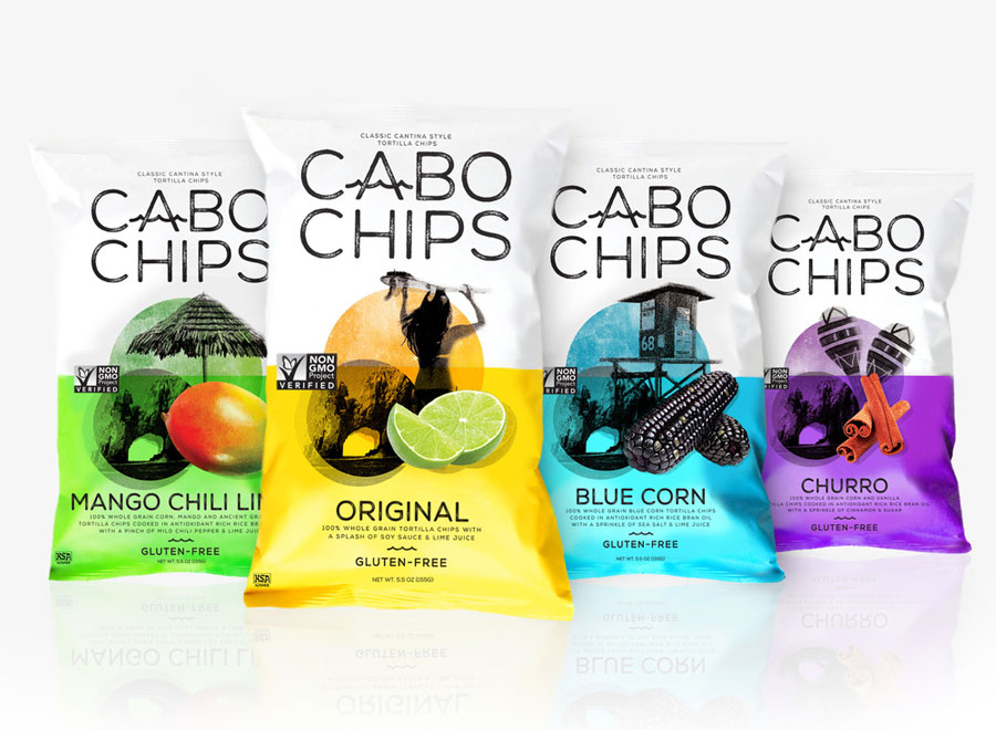 Packaging Design, Branding, Cabo Chips, Logo Design