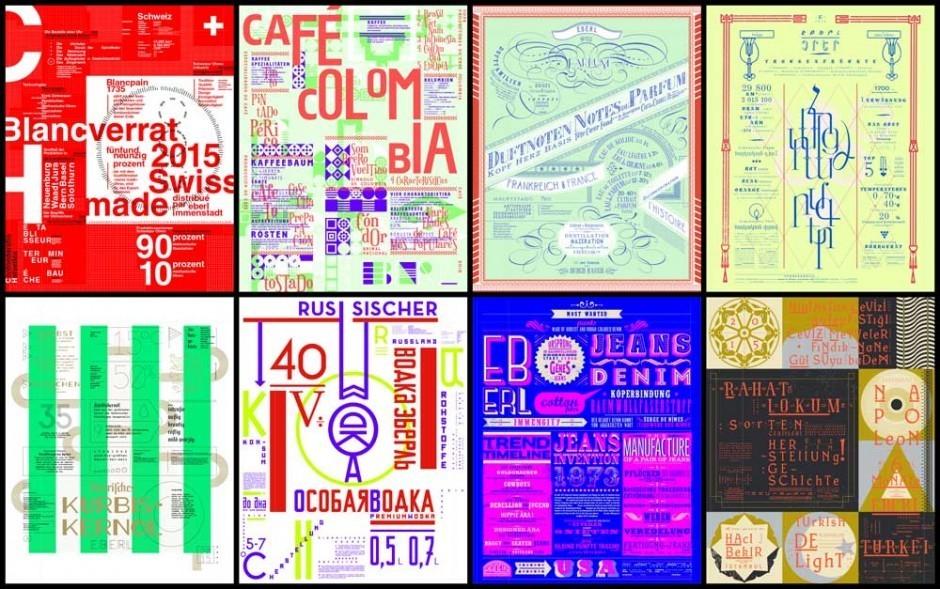 Für das Medienhaus Eberl entstand eine Serie typographischer Plakate zu Spezialitäten aus acht Ländern der Welt