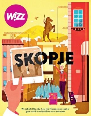 Drei Titelbilder für drei verschiedenen Städten gewidmeten Ausgaben des Magazins der polnische Luftlinie Wizz Air, illustriert von Vesa Sammalisto aus Helsinki http://vesa-s.com/