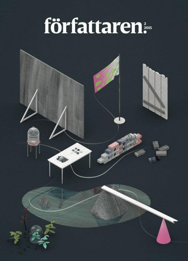 Cover von Clara Terne aus Stockholm lieferte eine ihrer raffinierte 3D-Illustrationen für das relaunchte »Författaren«, das Magazin für Autoren http://www.terne.se