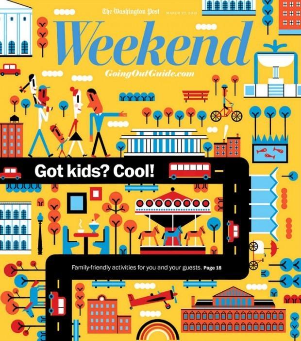 Für einen Wochenendführer für Familien – als Beilage zur »Washington Post« fertigte Kanadier Luc Melanson fertigte dieses familienfreundliche Cover an http://www.lucmelanson.com