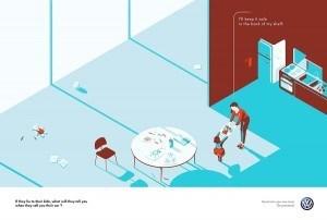 Illustrator Tom Haugomat ergänzte im Auftrag von DDB Paris die aktuelle Kampagne für VW-Gebrauchwagen um vier Printmotive
