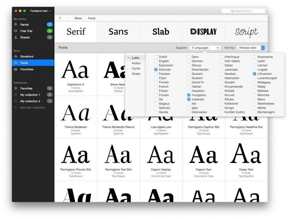 Fontstand Languages