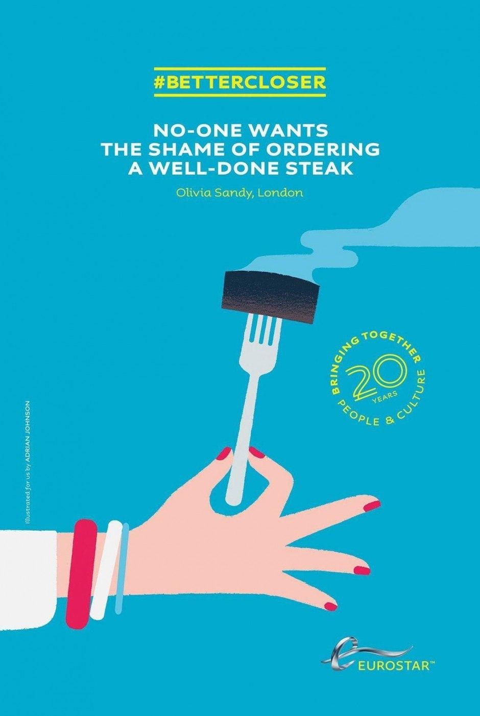 Hin-und-her-Reisen II: Für den zwischen Frankreich und England pendelnden Eurostar werden kulinarische Verbindungen zwischen Reisezielen hergestellt – mit Illustrationen von Adrian Johnson
