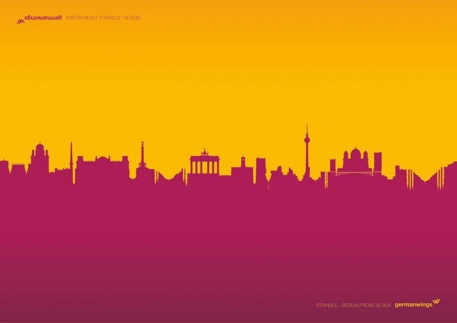 Hin-und-her-Reisen I: Colondon, Parisseldorf, Berlistanbul heissen diese Motive von Grey Düsseldorf, die die Idee des Hin- und Zurückfluges originell mit zwei ineinander verschränkten Skylines visualisieren
