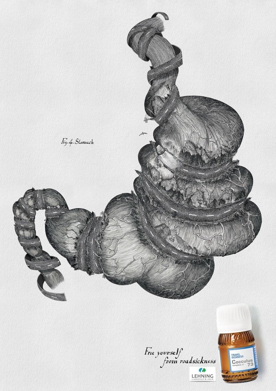 Die wohl ästhetischste Werbung, die es je zum Thema Reisekrankheit gab. Mit Illustrationen von Florian Nguyen für die Agentur Havas 360 Paris