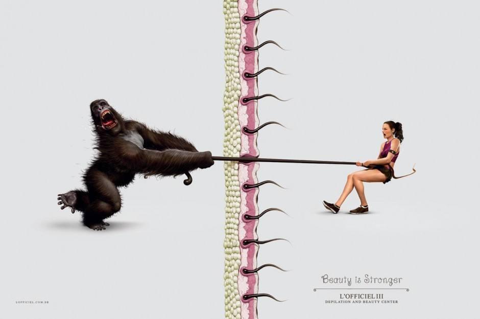Bekämpfe das haarige Tier in dir, das immer wieder rauswill … Natürlich eine Kampagne aus dem Land der Enthaarungsweltmeister, nämlich von Publicis Brasil. Illustrator war Lambuja! aus São Paolo