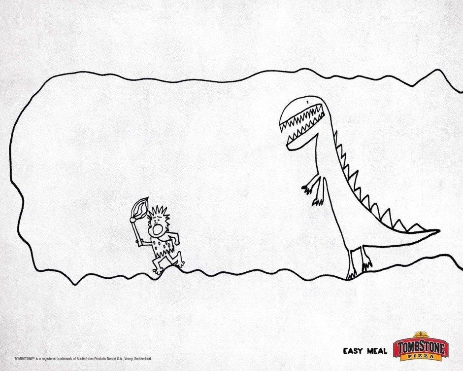 Extrem simpel, aber lustig: diese Fast-Food-Kampagne von FCB Chicago für Tombstone-Tiefkühlpizza illustrierte Art-director Martin Serra gleich selbst
