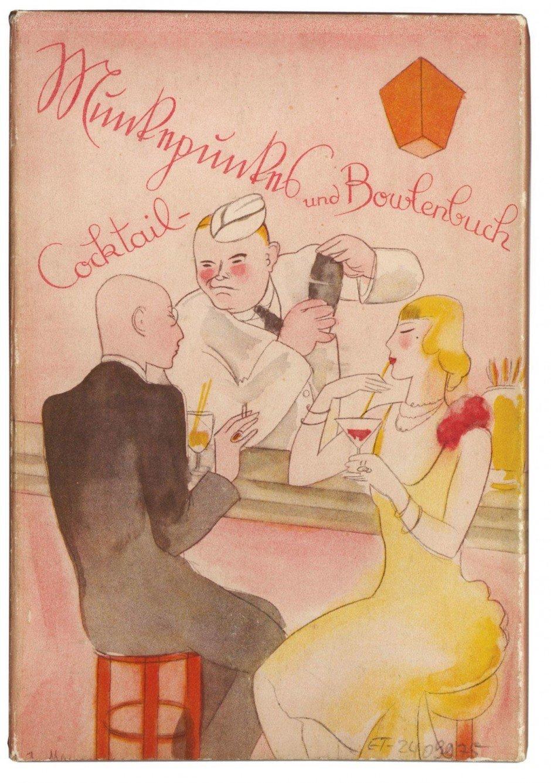 Das Atelier am Kurfürstendamm 29, wo die Malerin Jeanne Mammen (www.jeanne-mammen.de) bis zu ihrem Tod 1976 ganze 57 Jahre lang gewohnt und gearbeitet hat, kann man besuchen. Hier ziert eines ihrer Aquarelle des Berliner Groß-stadtlebens ein 1929 bei Ernst Rowohlt erschienenes Buch – auf dessen Rückseite die gleiche Szene von hinten zu sehen ist, mit Blick auf die Innenseite der Theke und den Rücken des Barmanns. Autor ist der Berliner Lyriker und Verleger Alfred Richard Meyer, genannt Munkepunke