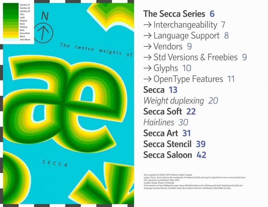Specimen zur Schriftfamilie »Secca« von Andreas Seidel (ASType)