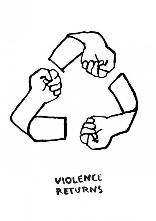 Gewalt erzeugt Gewalt, doch wie stoppen wir diesen Kreislauf der Aggression? Ein Mann schlägt seine Frau, der Junge schaut zu, der Junge wächst auf und jetzt schlägt er seine Frau, sein Kind schaut zu ... der Kreislauf wiederholt sich. Wir müssen diese Gewaltspirale stoppen. Sie zirkuliert schamlos in jedem Teil unseres Lebens. Sie ist überall: in unseren Häusern, Schulen, Universitäten, am Arbeitsplatz, auf den Straßen, in den Medien, Filmen, und wir haben keine perfekte Lösung um Gewaltverbrechen zu reduzieren, da es keine gibt.