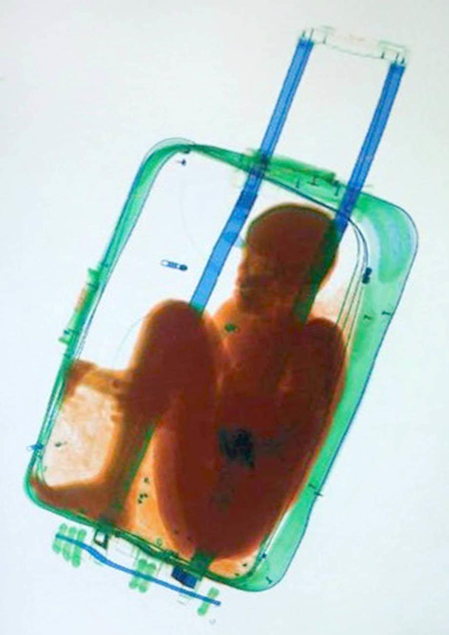 Als die Grenzbeamten den Koffer im Gepäckscanner durchleuchteten, entdeckten sie den Jungen darin. Die Frau und der Vater des Kindes, der sich kurze Zeit später zeigte, wurden von der Guardia Civil festgenommen. Wie sich dann herausstellte, sind die Beiden ein Ehepaar. Die internationale Nachrichtenagentur Associated Press verbreitete ein Foto, das den Bildschirm des Gepäckscanners zeigt. Der Ausschnitt des Bildes, der das Kind im Koffer zeigt wurde digital herausgetrennt, perspektivisch begradigt, in Kontrast und Helligkeit korrigiert und mit einem Farbraster-Filter bearbeitet.