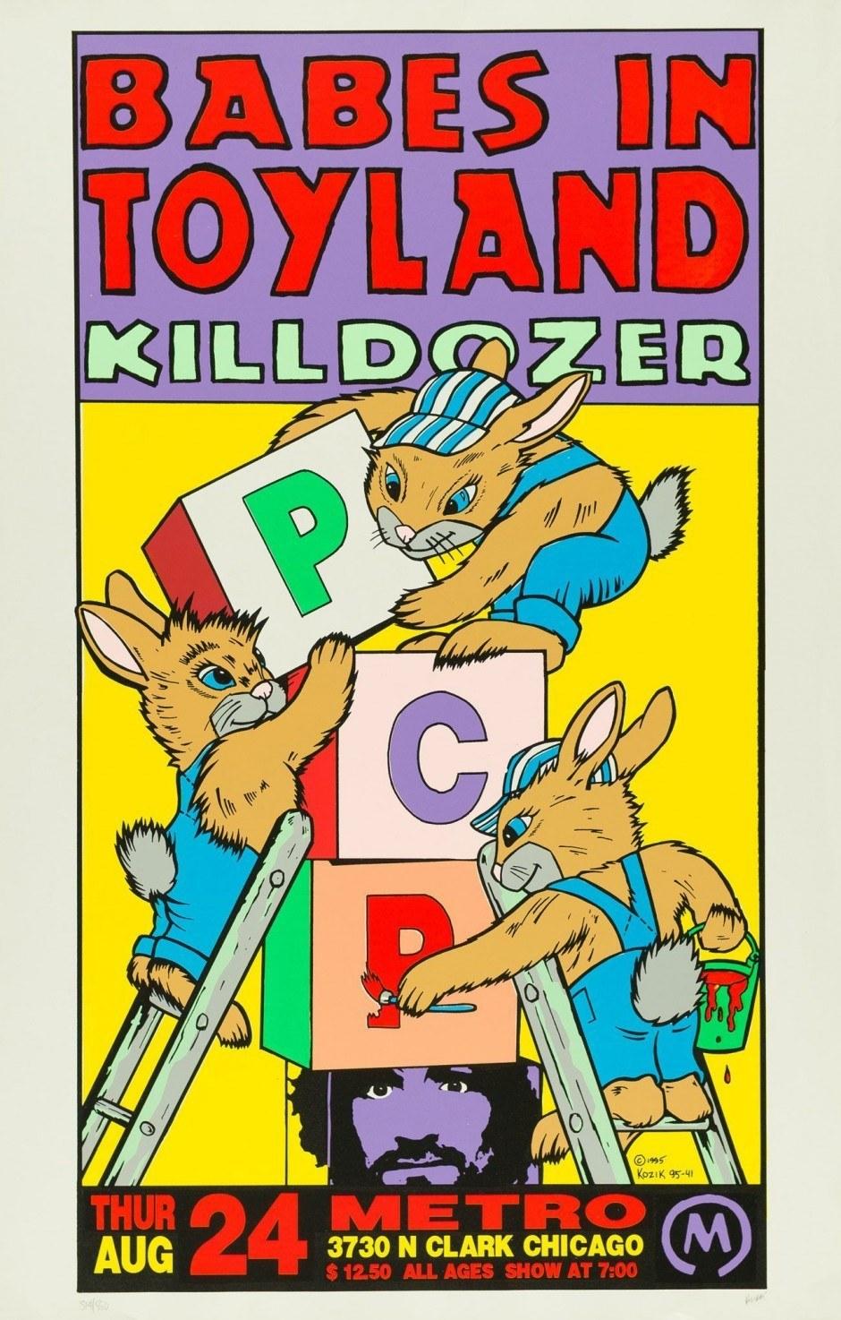 Frank Kozik, Babes in Toyland Killdozer, Chicago, 1995, Siebdruck, 89 x 57,2 cm