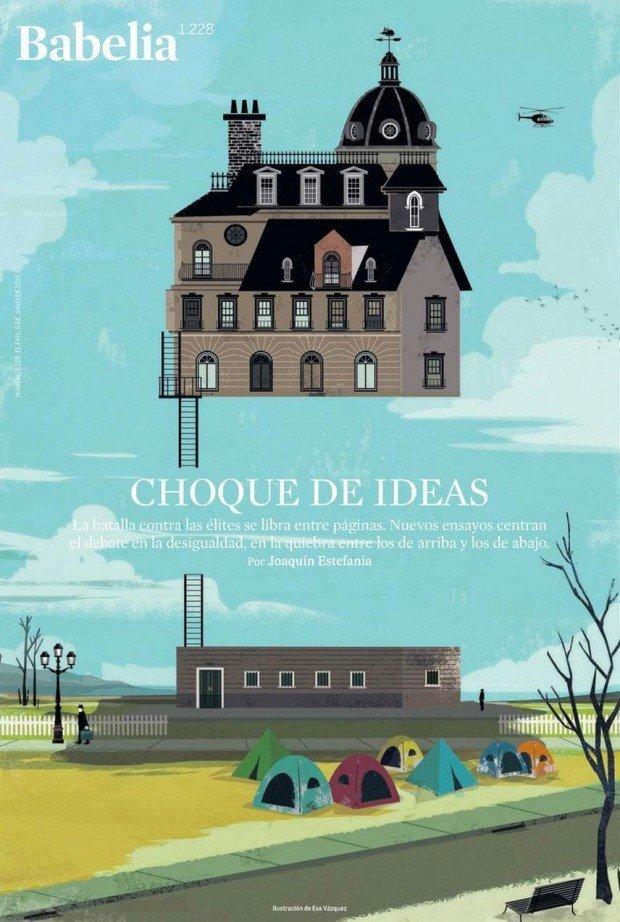 Die da oben, die da unten … Eva Vásquez illustrierte dieses Cover zum Thema Ungleichheit für die Kulturbeilage der spanischen Zeitung »El País«. http://evavazquezdibujos.com/