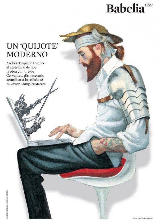 Ziemlich cool: Fernando Vicente hat sich Don Quijote mal als Hipster vorgestellt … Hier geht es in der Kulturbeilage der spanischen Zeitung »El País« um eine aktuelle Übersetzung des berühmten Buchs ins heutige Spanisch. http://www.fernandovicente.es/