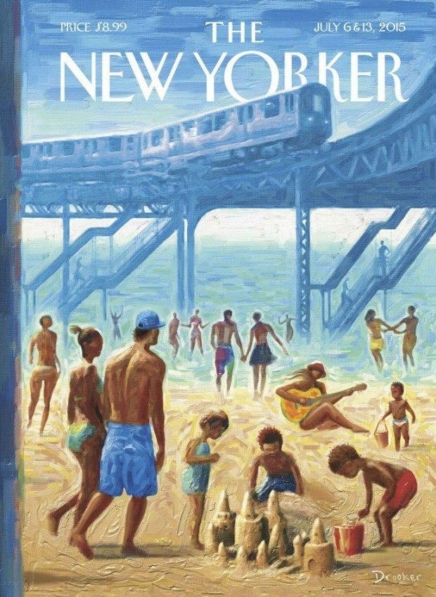 Eric Drooker, der schon oft Cover für »The New Yorker« lieferte, hat hier Rockaway Beach gemalt – bekannt als der längste Stadtstrand der USA, gelegen im New Yorker Stadtteil Queens. http://www.drooker.com