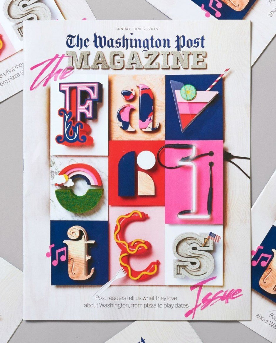 Knete, Holz, Plexiglas, LEDs: Alle Buchstaben haben Snask per Hand selbst gemacht – einzeln kommen sie auch im Heft als Visuals für verschiedene Rubriken zum Einsatz. http://www.washingtonpost.com/news/style/wp/2015/06/03/behind-the-cover-how-the-favorites-issue-art-was-made/