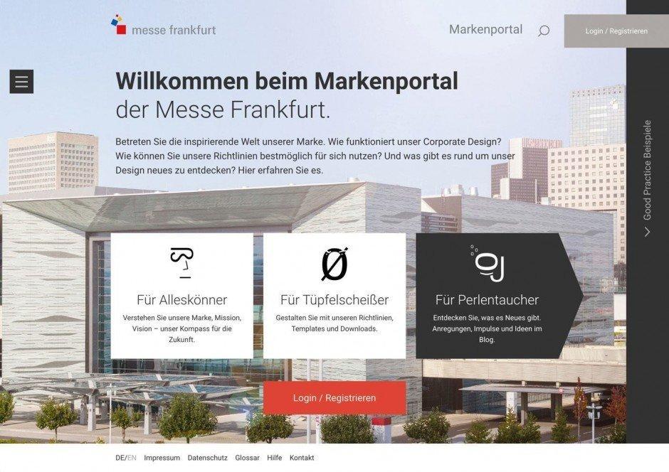 Mit viel Humor sorgt die Messe Frankfurt für eine klare Zweiteilung des Portals in Guidelines und Magazinteil
