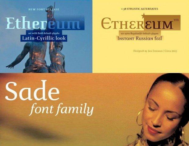 Auch die beiden Fonts Etherum und Sade weisen die für Erasmus typischen widerborstigen Letterformen auf, die er schon bei der ikonischen Thornface zu seinem Markenzeichen machte.
