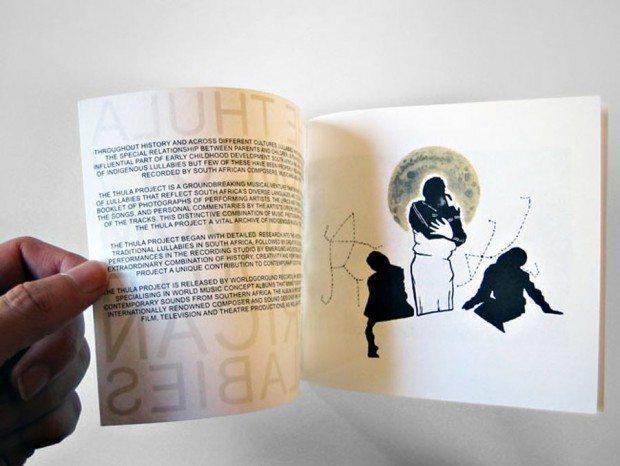 Das ambitionierte Projekt Thula setzt südafrikanische Wiegenlieder in einem Mix aus Illustrationen, Fotos und schlichter Typografie um.