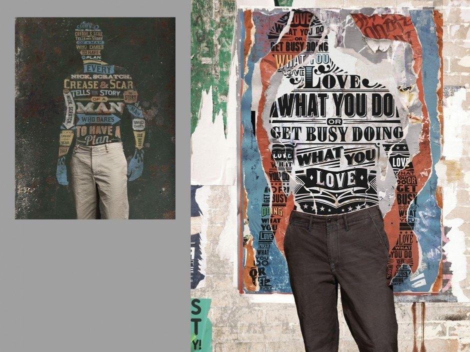 Auch Ian Jepson ist ein renommierter Illustrator und Lettering-Meister, den man in Südafrika vor allem durch seine wilden Veranstaltungsplakate im Comic- und Grusel-Stil kennt. Für das Modelabel Dockers kreierte er Collagen-artige Poster, in denen das Alltagsprodukt Jeans mit typografischen Texturen auf mehreren Ebenen umspielt wird. Die Briefmarken-Poster im Vintage-Stil, die er mit Am I Collective entwarf, inszenieren relativ banale Ausdrücke in Afrikaans.