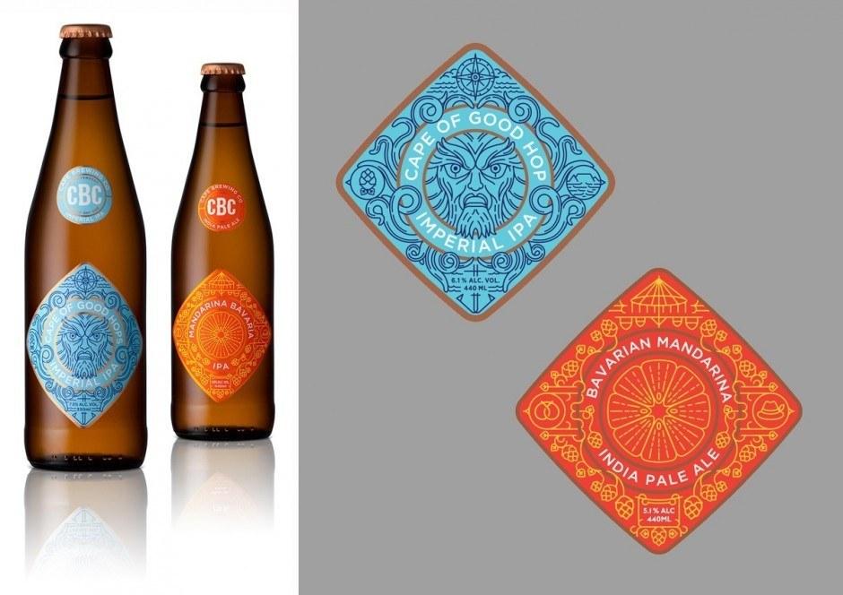 Die wunderschönen Bierlabel der Cape Brewing Company vom Kapstädter Studio Muti, die auch im Magazin zu sehen sind, sehen auf den Flaschen noch viel besser aus!