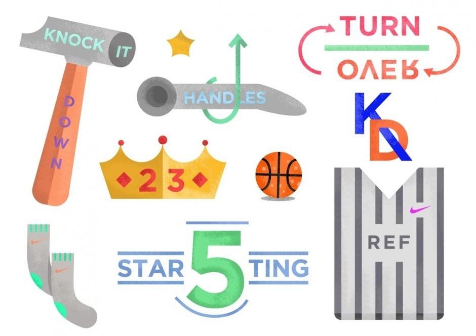 Ting Chong ist auch ein versierter Illustrator – was er in einem Poster beweist, welches liebevoll und von sparsamer Typo begleitet die Details von Basketball erklärt.