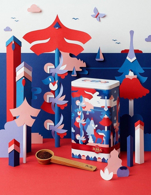 Eine Dosen-Sonderedition für Mokka der Firma Paulig aus Finnland, mit Waldmotiven der in Helsinki lebenden Illustratorin Janine Rewell. Set Design von Owen Gildersleeve.