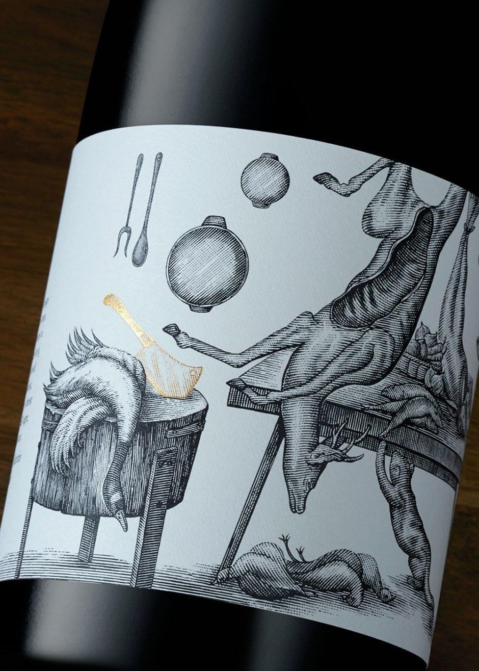 Und noch eine wirklich wunderschöne Illustration für eine Flasche: diesmal ein Küchenstilleben im Stil des 17. Jahrhunderts von Steven Noble für das australische Wein-Label Ravensworth.