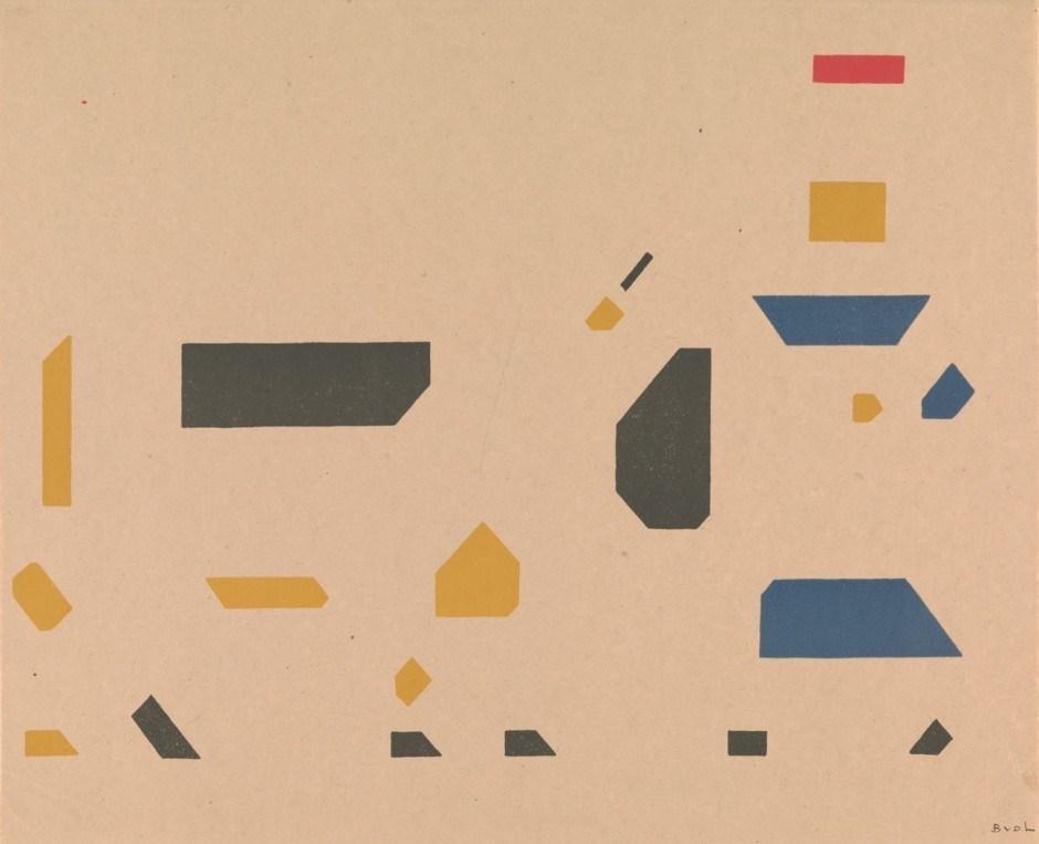 Bart van der Leck. Composition meisje met koe, c. 1921