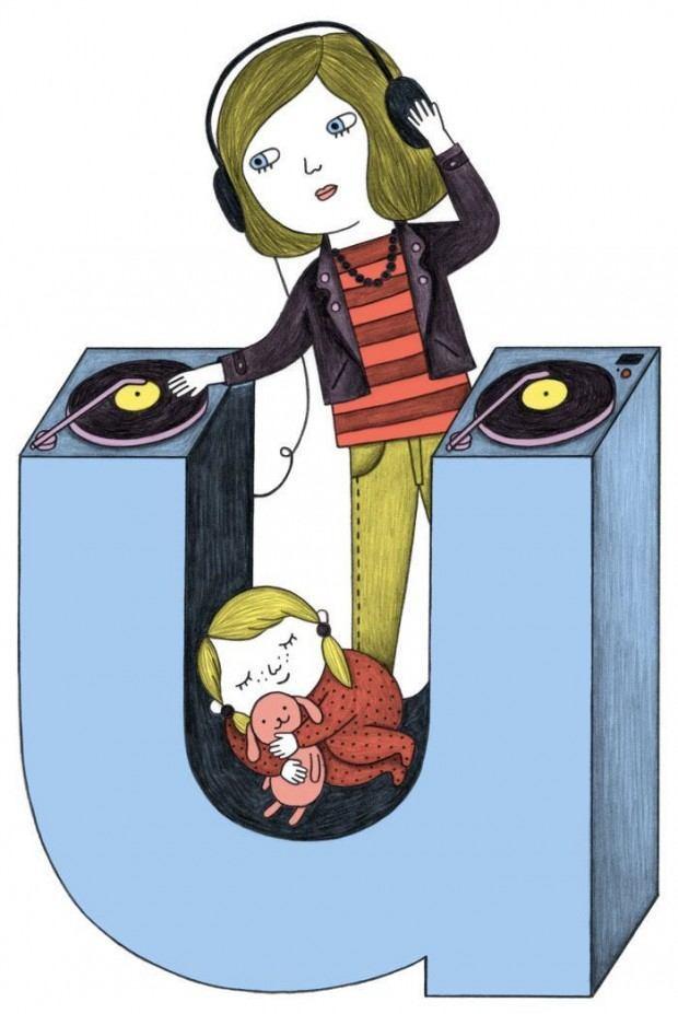 U wie unterwegs – Illustration von Ana Albero für eine Kolumne im Magazin »Missy«. www.ana-albero.com